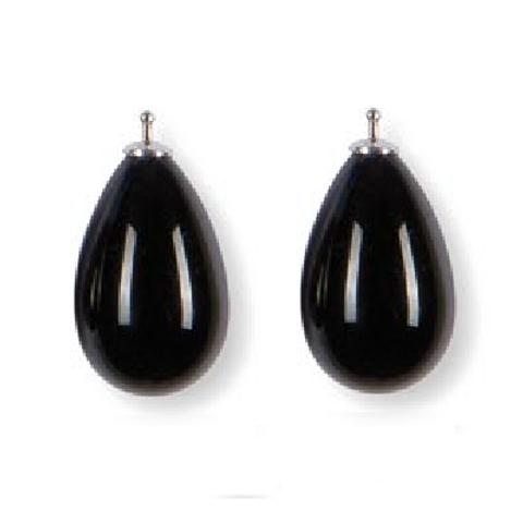 24mm Quarzglas -Tropfen, Einhängerpaar, schwarz