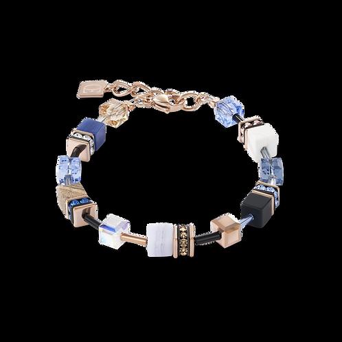 Armband GeoCUBE® Swarovski® Kristalle & Edelsteine blau-beige