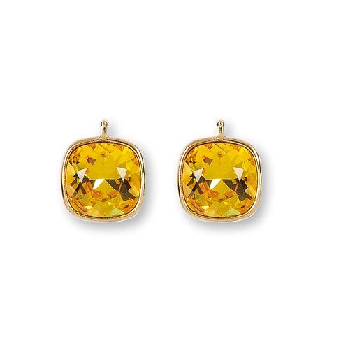 14mm Kristall vergoldet, 14mm Einhängerpaar, citrin