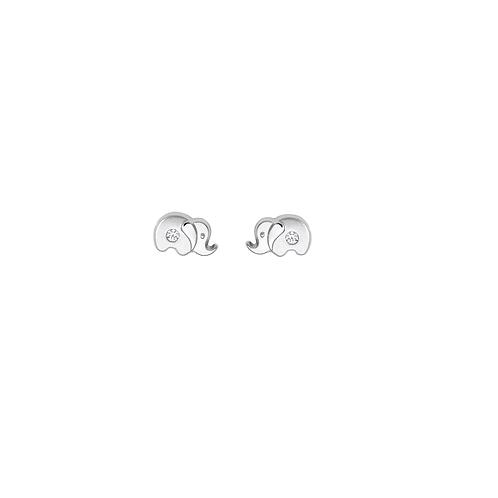 KI18 SCHNEIDER BASICS Kinderohrstecker Elefant Zirkonia Weißgold