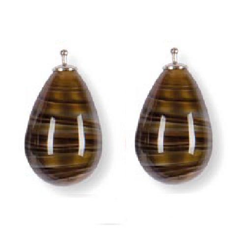 24mm Quarzglas -Tropfen, Einhängerpaar, tigerauge