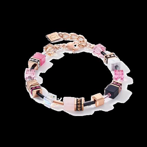 Armband GeoCUBE® Swarovski® Kristalle & Edelsteine rosa-beige