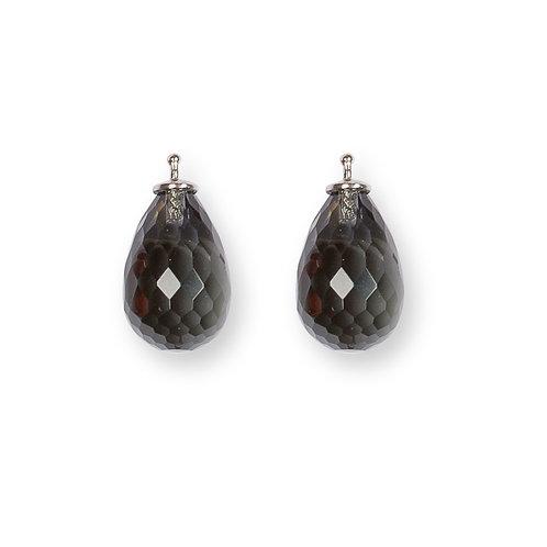 Briolette-Tropfen 17x11mm Einhängerpaar, black diamond