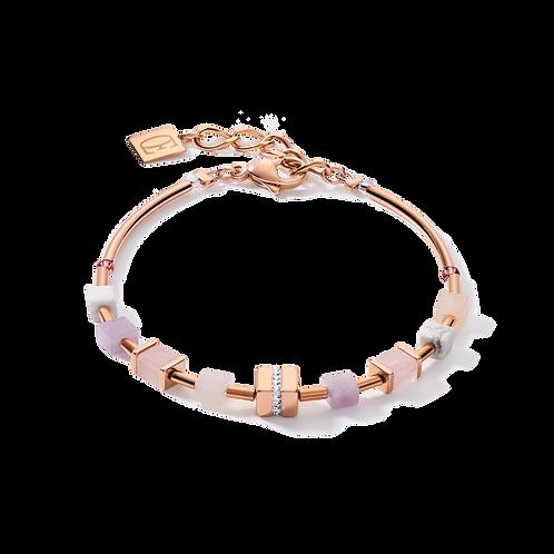Armband GeoCUBE® big Kristall Pavé Cube, Edelsteine & Edelstahl roségold rosa-be
