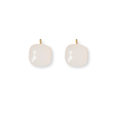 12mm Facettiertes Quarzglas, Einhängerpaar, opal
