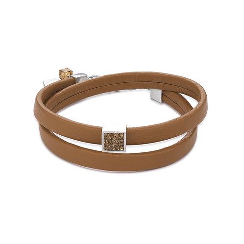 Coeur de Lion Armband Leder & Kristalle Pavé hellbraun 0117301120