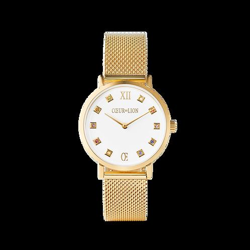 Coeur de Lion Uhr Rund Brilliant White Milanaise Edelstahl Gold 7612701614