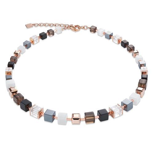 Halskette GeoCUBE® Swarovski® Kristalle, Rauchquarz & Hämatit roségold