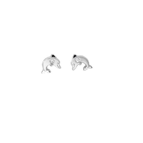 KI16 SCHNEIDER BASICS Kinderohrstecker Delfin Zirkonia Weißgold