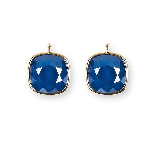 14mm Kristall vergoldet, 14mm Einhängerpaar, royalblau