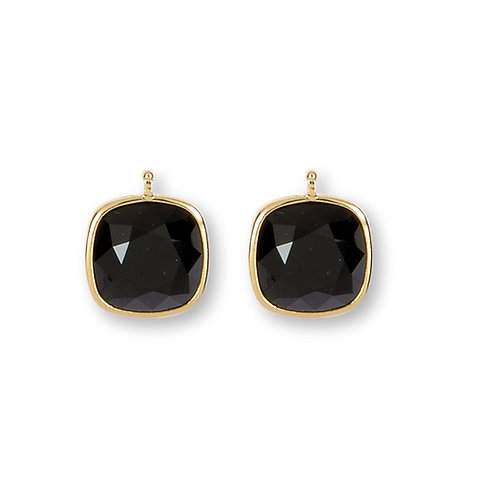 14mm Kristall vergoldet, 14mm Einhängerpaar, schwarz