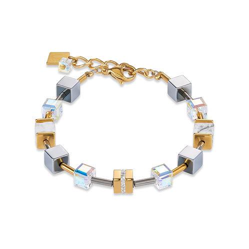 Armband GeoCUBE® Edelstahl & Kristall Pavé, Swarovski® Kristalle & Howlith gold