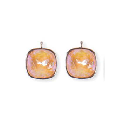 14mm Kristall vergoldet, 14mm Einhängerpaar, apricot