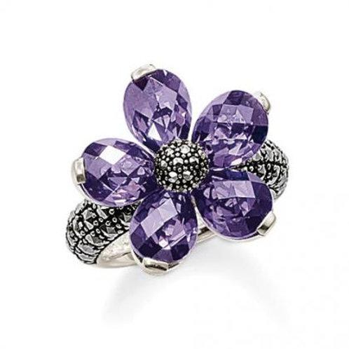 TR1700 THOMAS SABO Blumen Ring Silber Lila
