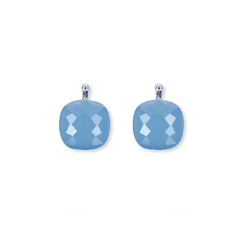 12mm Facettiertes Quarzglas, Einhängerpaar, bleu