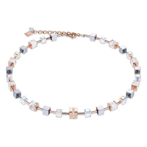 Halskette GeoCUBE® Edelstahl & Kristall Pavé, Swarovski® Kristalle & Howlith