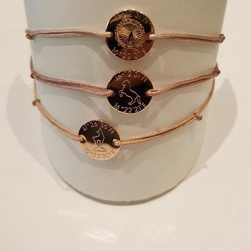 SBS1056 Armband mit Plättchen verschiedene Motive rosévergoldet