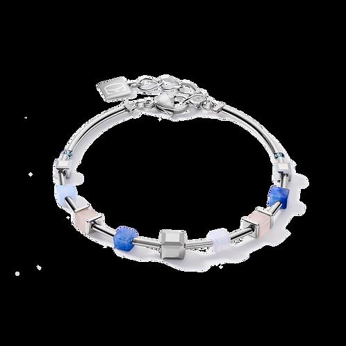 Armband GeoCUBE® big Edelsteine, Swarovski® Kristalle & Edelstahl roségold blau-