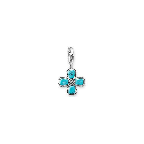 0650 Thomas Sabo Charmanhänger Kreuz mit türkisen Steinen