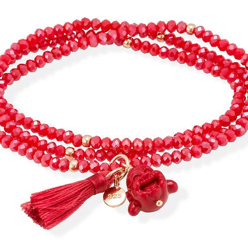 MARINA GARCIA JOYAS Armband ZEN Rot in silber rose vergoldet