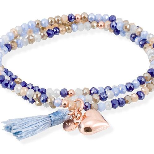 MARINA GARCIA JOYAS Armband ZEN Blau in silber rose vergoldet