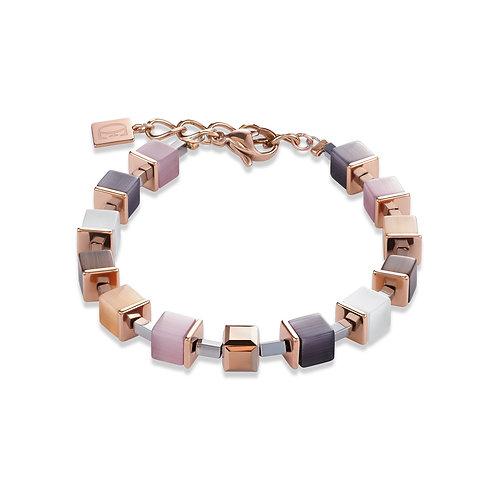 Armband GeoCUBE® synthetisches Tigerauge & Swarovski® Kristalle beige-rosa