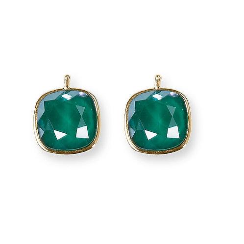 14mm Kristall vergoldet, 14mm Einhängerpaar, smaragd