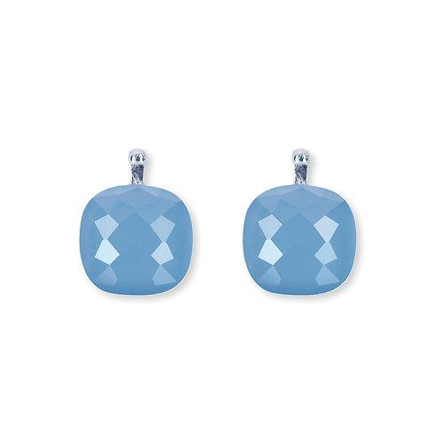 10mm Facettiertes Quarzglas, Einhängerpaar, bleu