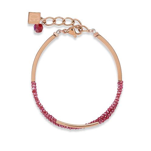 Armband Wasserfall Edelstahl roségold & Glas rot 4960300300