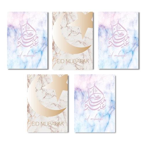 5 pack luxury eid cards