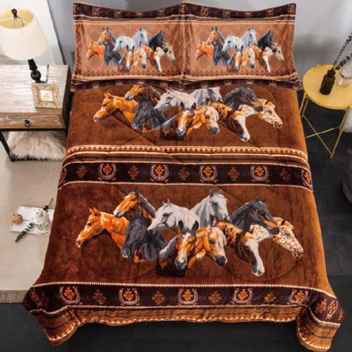 Geometric Horse Collage Bedding