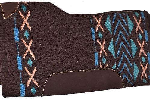 Teal/Turquoise/Tan/Brown Saddle Pad