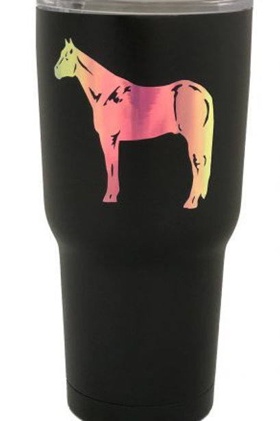 Black Stainless Holographic Standing Horse