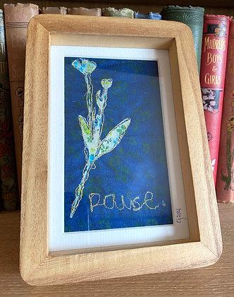Pause - Stitched Cyanotype