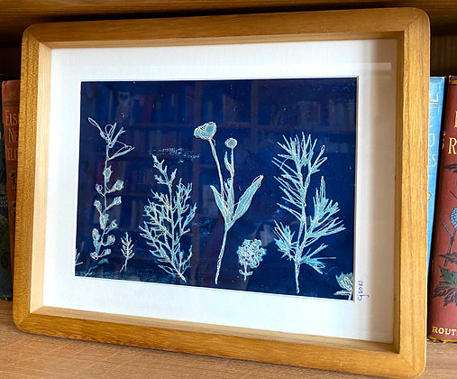 Simply Dancing - Stitched Cyanotype