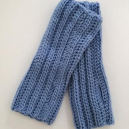 Blue crocheted fingerless mittens