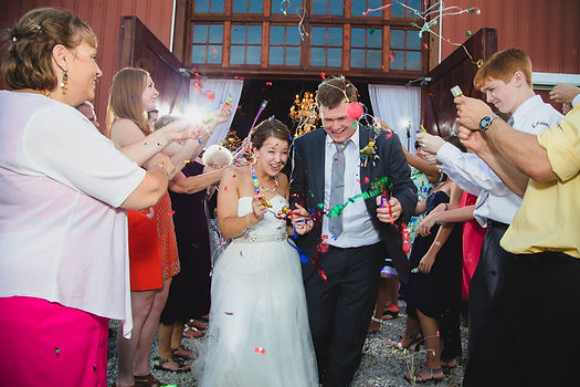 Indianapolis Wedding confetti celebration bride groom laughing