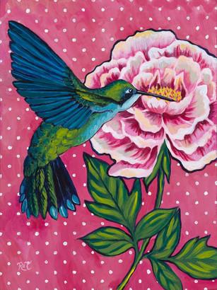 Hummingbird & Peony