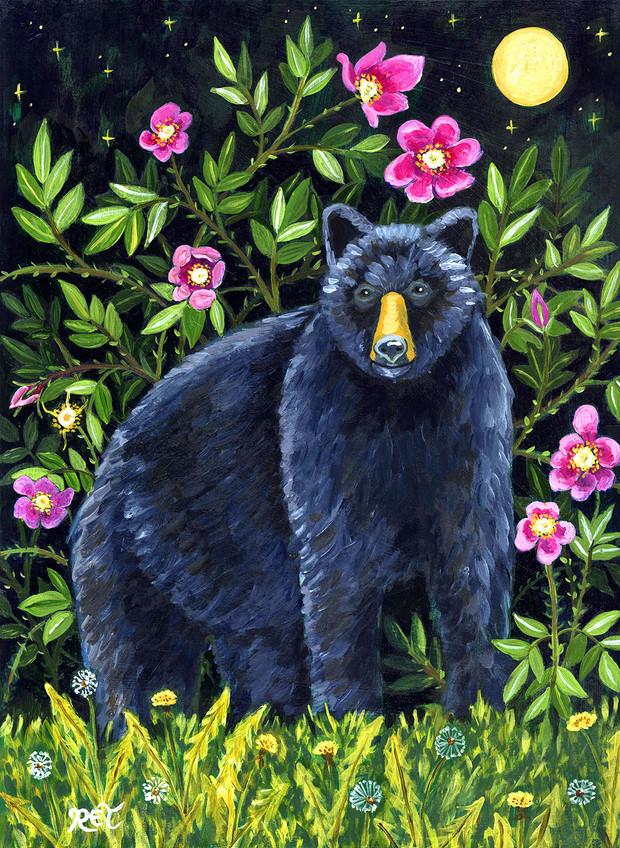 Black Bear & Wild Rose