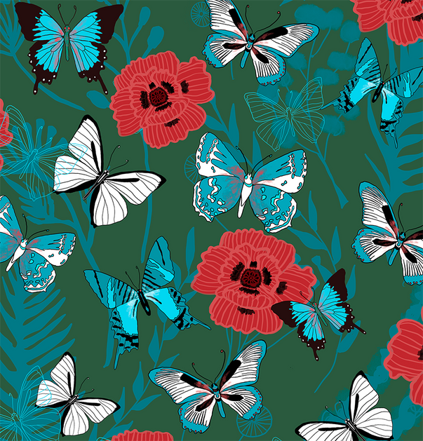 Butterflies and Poppies