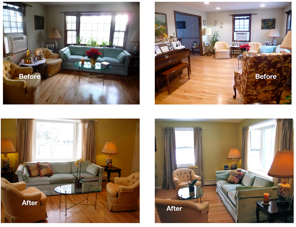 This client had already hired a painter for walls and trim.  Everything else was simply moving around what she already had in the house.