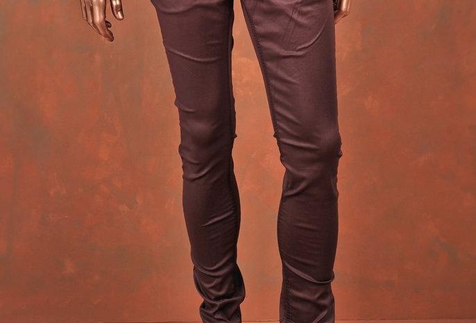 Trousers Waxed Slim-Fit Bordeaux