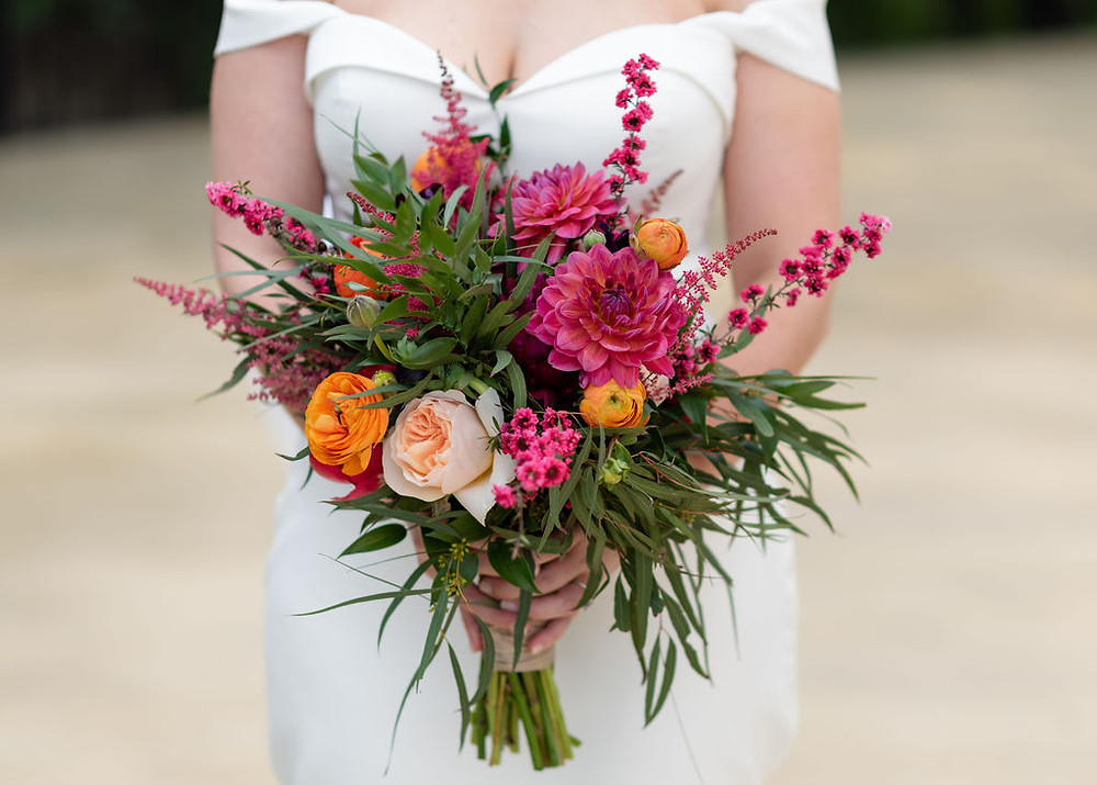 pink, orange, and green bridal bouquet