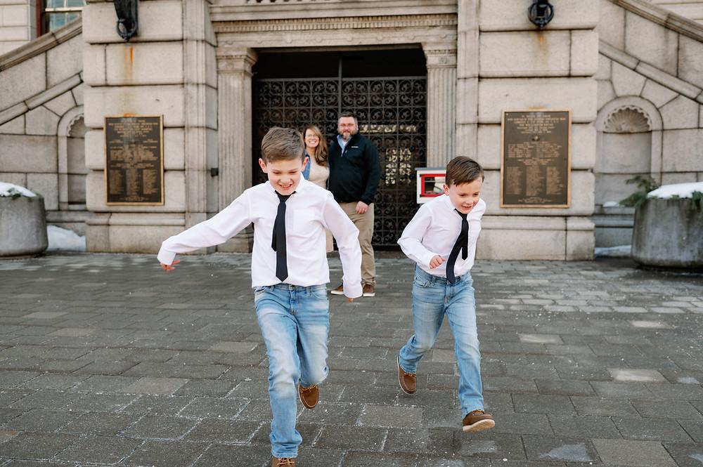 candid photo of children running towards the camera