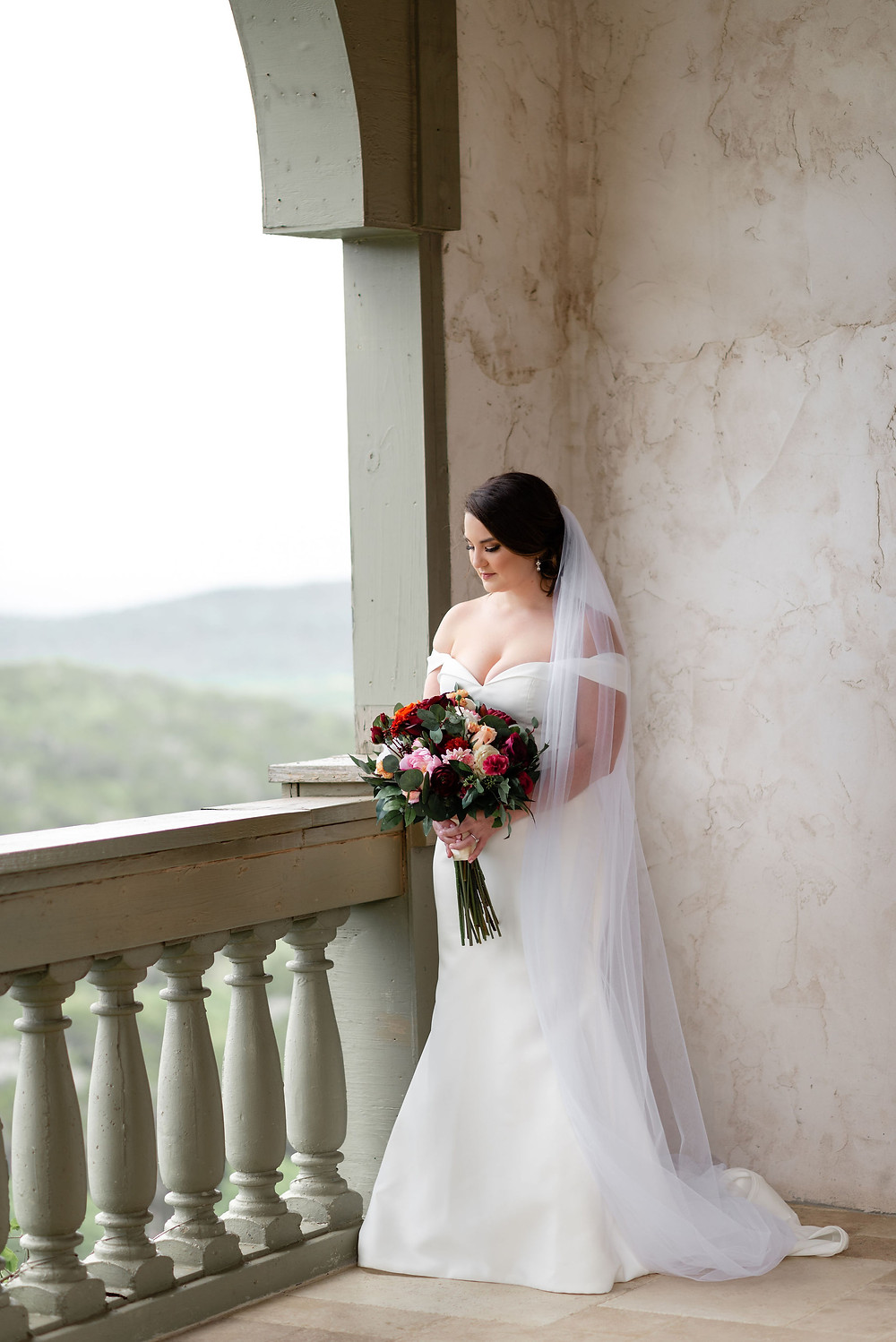 bridal portrait in gazebo at villa antonia