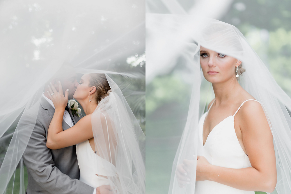 under the veil wedding portraits