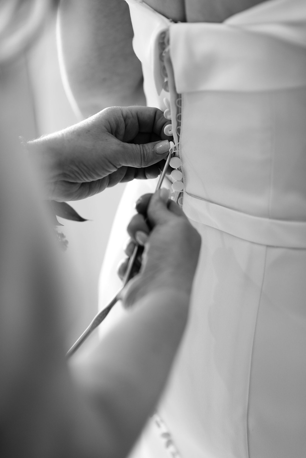 button wedding dress with crochet tool