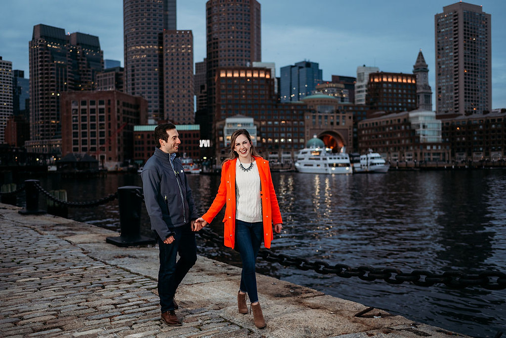 fan pier park and harborwalk engagement session at night