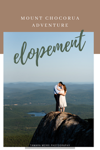 mount chocorua adventure elopement. Couple is posing on the side of a cliff with the new hampshire white mountains in the background