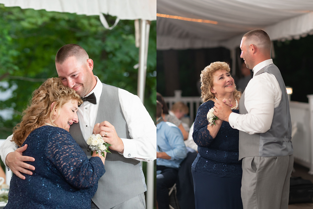 tearful mother and groom dance